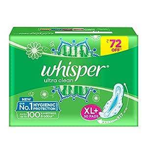 Whisper Ultra Clean Sanitary Pads for Women, XL+ 50 Napkins