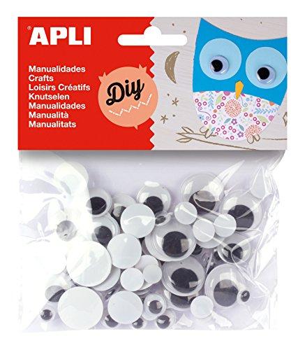 APLI - Bolsa ojos móviles negros redondos