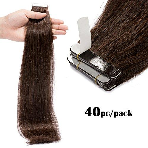 TESS Tape Extensions Echthaar Klebeband Haarverlängerung Remy Human Hair günstig 40 Tressen x 4 cm 100g-60cm(#2 Dunkelbraun)