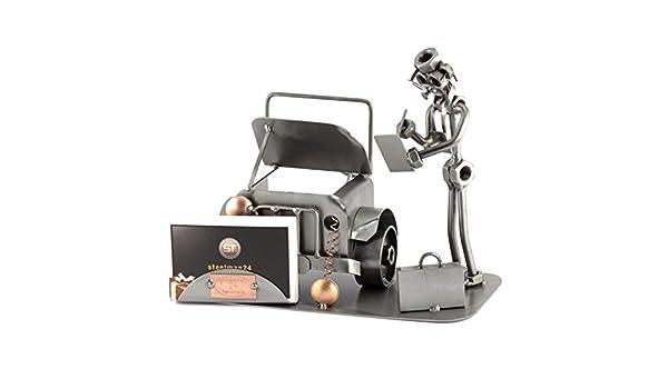 Steelman24 I Figurine en m/étal P/édicure avec Porte-Cartes De Visite I Made in Germany I Id/ées Cadeaux I Sculpture d/'Acier I Hommes de m/étal