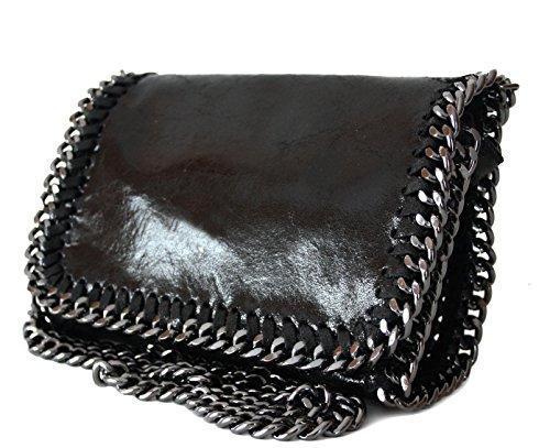 sa-lucca-schultertasche-abendtasche-clutch-evening-bag-handtasche-ketten-echt-leder-schwarz-italy