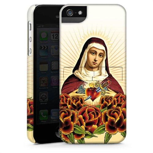 Apple iPhone 4 Housse Étui Silicone Coque Protection Maria Croix Roses CasStandup blanc