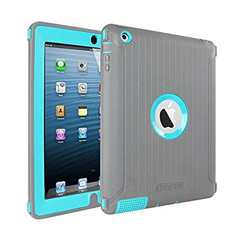 iPad 2 3 4 Case,by eSellerBox® Heavy Duty Full-body Rugged Armor Hybrid Multi-Layer Defense Protective With kickstand Holder Built-in Screen Protector Durable Case Cover apple iPad 2/3/4(Grey&Teal)