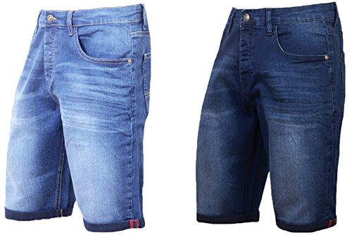 Mad Ink Mens Denim Shorts Stretch Slim Fit Regular Half Jeans Shorts Dark Blue Light