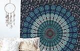 Raajsee Indisch Psychedelic Wandteppich Mandala Blau Turquoise Tapestry/ Elefant Boho Wandtuch Hippie/ Mehrfarbige Indischer Wandbehang Tuch Twin 54x82 Inch/Indien baumwolle Wand tucher 140x210 cm