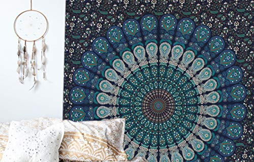 Tapices de pared color azul tipo mandala de doble ;o de pavo real,ropa