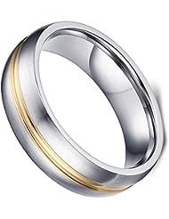 Flongo Anillo de compromiso, Acero inoxidable dorado plateado, Clásicos anillos de pedida hombre/mujer, Color de oro, Talla 9-30