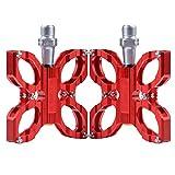 TXJ Alluminio CNC Farfalla Cuscinetto Pedale Della Bicicletta per Bici da Strada/ Bicicletta a Scatto Fisso/ MTB (Rosso)
