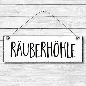 Räuberhöhle – Dekoschild Türschild Wandschild Holz Deko Schild 10x30cm Holzdeko Holzbild Deko Schild Geschenk Mitbringsel Geburtstag