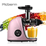 Juicer Machine, Picberm Slow Masticating Juicer for Nutrients Preservation Anti-Clogging Easy to Clean, Quiet Motor Cold Press Extractor with Brush Recipes for Fruits and Vegetables, Rose Gold