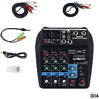 Alftek - Amplificador de Audio Mini USB, Tarjeta Bluetooth, alimentación Fantasma de 48 V, 4 Canales para Karaoke de DJ