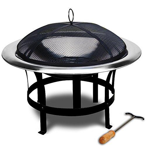 Feuerstelle Edelstahl – Grillstelle Feuerschale Grillschale Feuerkorb mit Funkenfluggitter und Feuerhaken - 2