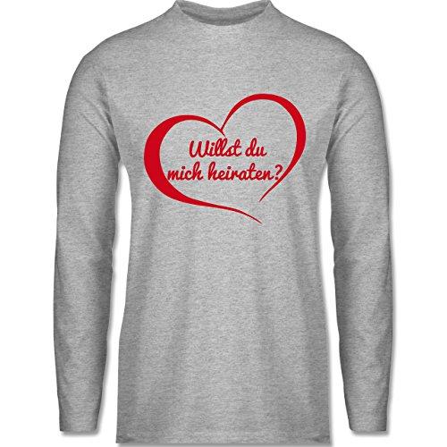Shirtracer Valentinstag - Willst Du Mich Heiraten? Herz - Herren Langarmshirt Grau Meliert