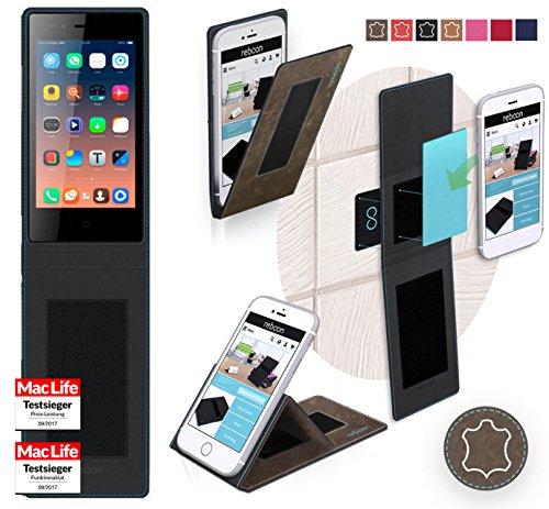 reboon Hülle für Siswoo A4 Plus Chocolate Tasche Cover Case Bumper | Braun Wildleder | Testsieger