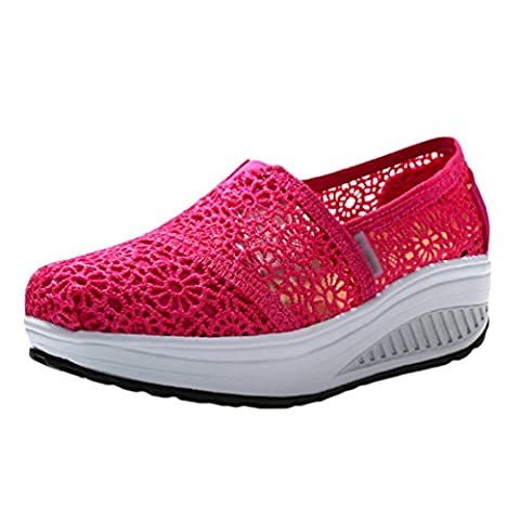 Sronjn Femmes Dentelle Respirant Confortable Plate-forme Fashion Clavettes Platform Décontractée Chaussures