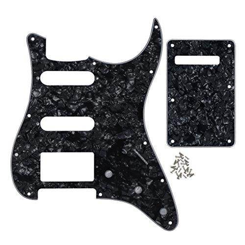 IKN Strat SSH Gitarren Schlagbrett 11 Löcher Scratchplate und ST Back Plate Tremolo Deckel mit Befestigungsschrauben,4-Ply Schwarze Perle - Chrome Perlen