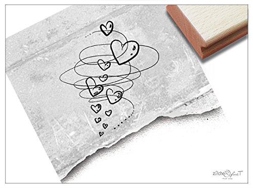 Stempel - Motivstempel Herz-Wirbel ♡ (groß) - Zauberhafter Bildstempel für Ihre Liebesgrüße z.B. Zum Valentinstag - von zAcheR-fineT