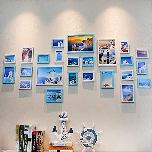 H.yina 24 Bilder Fotorahmen Wanddekoration Einfach Schwarz Weiß Bilderrahmen Wand Set Modern Blaues Mittelmeer Bilderrahmen Wand Rot Pink Fotorahmen Collage Für Zuhause Fotostudio Büro -