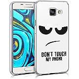 kwmobile Étui transparent en TPU silicone pour Samsung Galaxy A3 (2016) en noir transparent Design Don't touch my phone