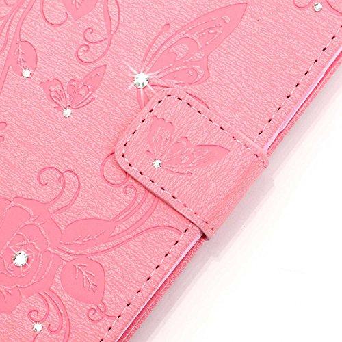 Hülle für Samsung Galaxy S7 Schmetterling,TOCASO Glitter Strass Bling Ledertasche Muster Weich PU Schutzhülle für Samsung Galaxy S7 Flip Cover Wallet Case Tasche Handyhülle mit Lanyard Strap Stand Fun Schmetterling,Pink