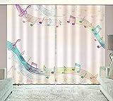 HONGYZCL Farbige Notizen 3D-Digitaldruckvorhang Geeignet Für Zuhause Schlafzimmer Wohnzimmer,150Cm(W)×166Cm(H)