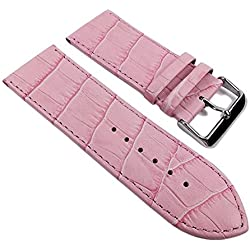 Minott Big Fashion - Louisiana Print Replacement Band Watch Band Leather Kalf Strap pink 21924S, Abutting:28 mm
