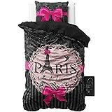 Sleeptime Bettwäsche I love Paris Rosa - 135 x 200 - Rosa + Mit 1 Kissenbezüge 80x80