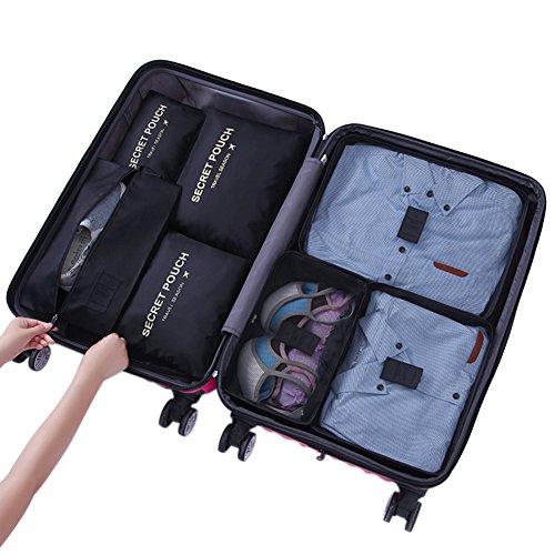 Belsmi Reise Kleidertaschen Set 7-teilig Reisetasche in Koffer Reisegepäck Organizer Kompression Taschen Kofferorganizer Mit Schuhbeutel (Grün) Tiefes Schwarz