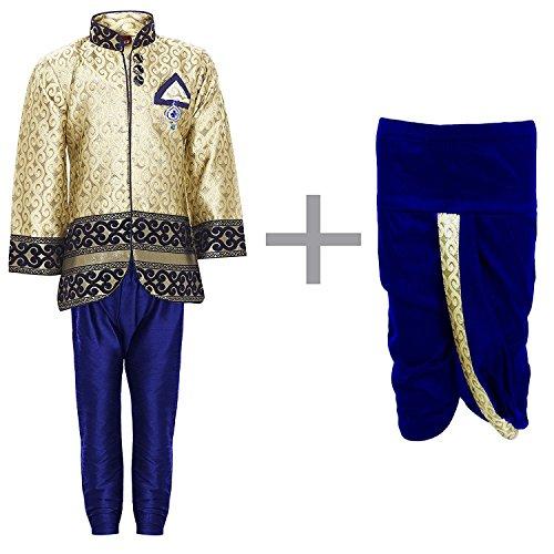 ahhaaaa Baby Boy's Sherwani, Pyjama and Dhoti Pant Set (NVY355-0_Navy_6-12 Months)
