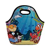 Jieaiuoo Portable Lunch Bag,Whale,Colorful Underwater Sandy Ground Cartoon Shark Fin Sea Plants Art Print,Sky Blue Hot Pink Orange,for Kids Adult Thermal Insulated Tote Bags