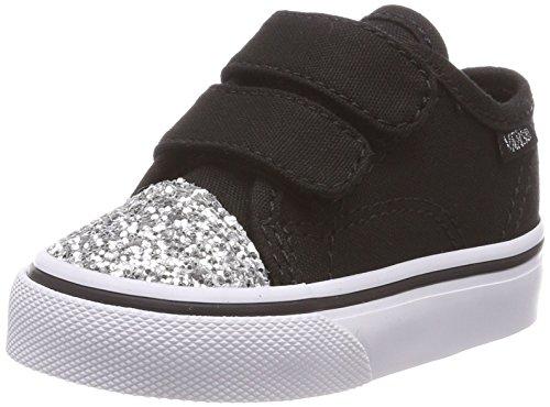 Vans Unisex Baby Style 23 V Sneaker, Schwarz (Glitter Toe), 20 EU