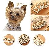 Huhuswwbin Hundehalsband, 5/3/2/1 Reihe, glänzende Strasssteine, für Hunde und Katzen, elastisch, Größe M, 1 Reihen