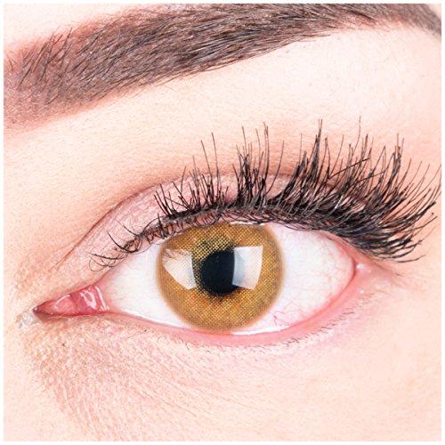 """Sehr stark deckende und natürliche braune Kontaktlinsen SILIKON COMFORT NEUHEIT farbig \""""Jasmine Brown\"""" + Behälter von GLAMLENS - 1 Paar (2 Stück) - DIA 14.00 - ohne Stärke 0.00 Dioptrien"""