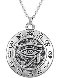 Colgante de plata con el ojo de Horus, símbolo de protección egipcio antiguo