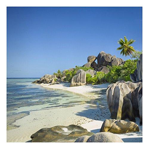 Bilderwelten Leinwandbild - Traumstrand Seychellen - Quadrat 1:1, Leinwand Leinwandbild - XXL...