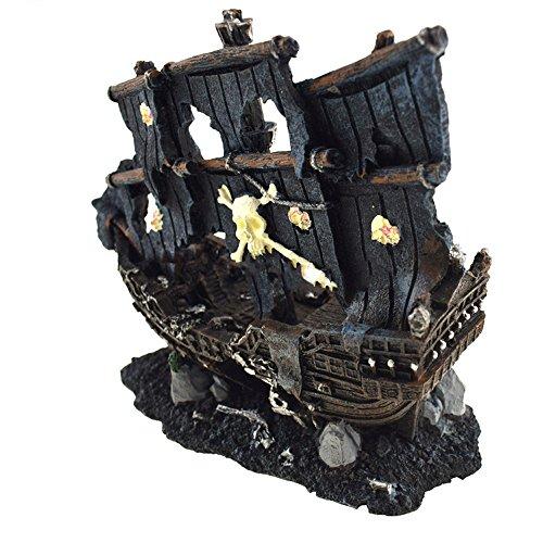 Aquarium Decor gesunken Wrack Boot Piraten beschädigt Schiff Aquarium Höhle Stein Ornament Gesunkenes Schiff Dekorationen