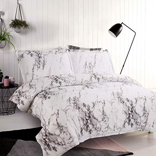 Bedsure Bettwäsche Grau & Weiß 155x220cm Bettbezug mit Marmor Muster, Super Weiche Atmungsaktive Mikrofaser Bettwäscheset mit 80x80 cm Kissenbezüge 3-teilig Bettwäsche mit Reißverschluss