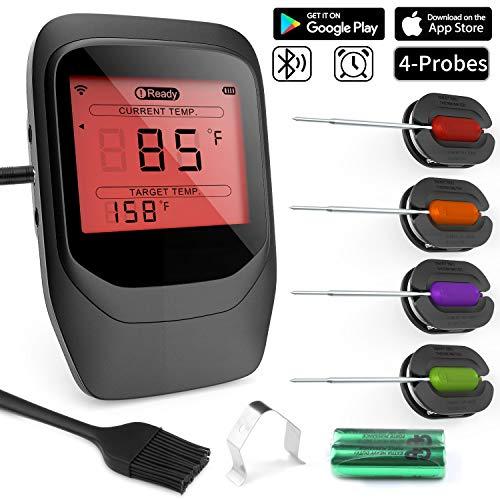 Digitales Fleischthermometer, Gifort Grillthermometer BBQ Thermometermit 4 Sonden, Funk Thermometer Bratenthermometer für Küche, Smoker, Steak, Unterstützt IOS, Android