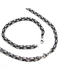 Set cadena Rey, Pulsera de cadena y collar de acero inoxidable encintado fuerte color negro plata 60 cm/22 cm