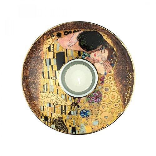 Goebel, Porzellan-Teelichthalter, Gustav Klimt, Der Kuss, Echtheitszertifikat, 15,00 cm Ø H: 3,50...
