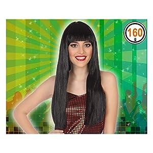 Atosa-39805 Peluca Extra Larga Flequillo, color moreno (39805)