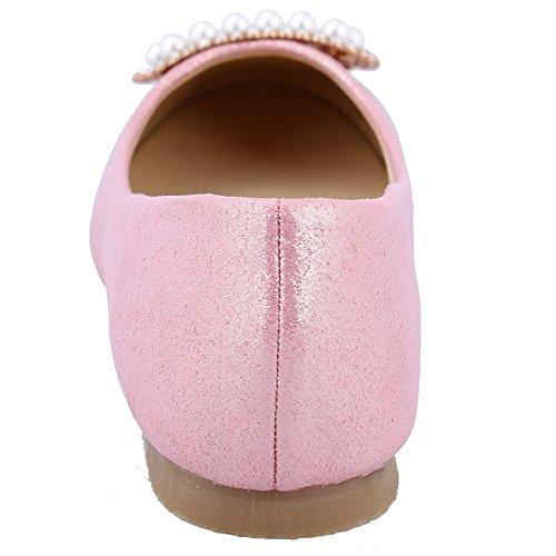 AalarDom Damen Spitz Zehe Ohne Absatz Ziehen Auf Pu Leder Flache Schuhe Pink-Perlenschnur