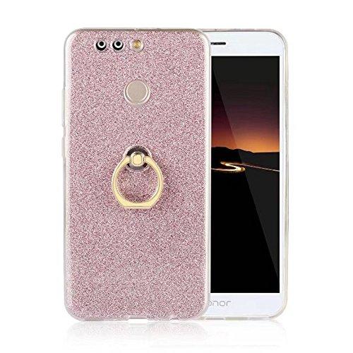 EKINHUI Case Cover Soft Flexible TPU Back Cover Case Shockproof Schutzhülle mit Bling Glitter Sparkles und Kickstand für Huawei Hornor V9 ( Color : Gold ) Pink