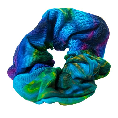 Buntes Haarband Goa Tie Dye Batik Hippie Haargummiband von Kunst und Magie, Farbe:Türkis (Gummibänder Tie Dye)