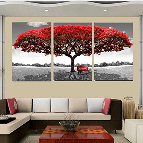 SQIANG Bastidor con pintura en tela, cuadros modernos marcos para cuadros 3 Panel de árbol rojo paisaje decorado Art Inicio Imprimir imágenes Modular,50cmx70cmx3pc
