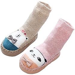 LIUCHENGHANG - Pack de 2 Pares de Calcetines Largos Antideslizantes Estampado Animal para Niños Niñas Anti-slip Zapatillas de Casa para Invierno Calentito - 0-1 Años - Caqui Rosa