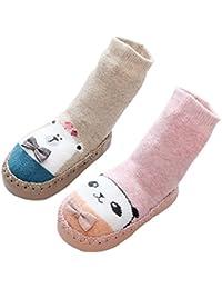 LIUCHENGHANG - Pack de 2 Pares de Calcetines Largos Antideslizantes Estampado Animal para Niños Niñas Anti-slip Zapatos con Puntos de Goma Zapatillas de Casa Invierno para Bebé - 0-3 Años