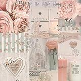 Papier peint à paillettes avec motif floral et strass, bougies, perles, rose, bleu sarcelle