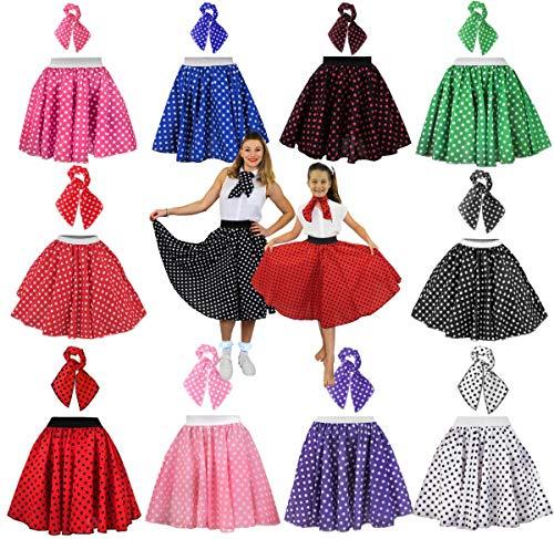 Dance 1950's Kostüm - Ilovefancydress Rock 'n' Roll Kostüm, 66 cm langer bunter Rock und Halstuch, gepunktet, 1950er Jahre-Stil