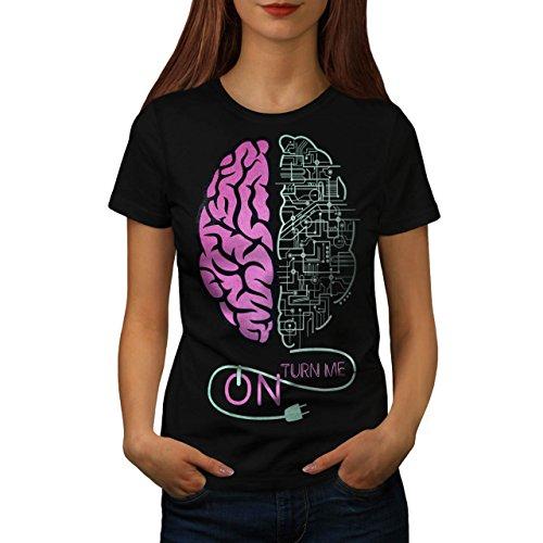 Gehirn Wende Auf Platte Komisch Damen S-2XL T-shirt   Wellcoda Black